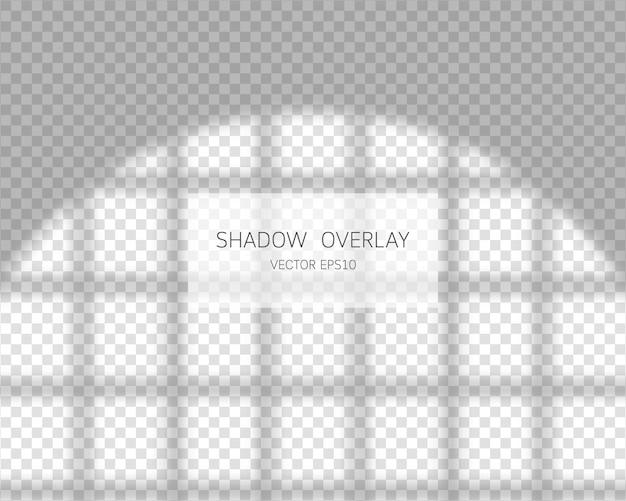 影のオーバーレイ効果透明な背景の図で分離されたウィンドウからの自然な影