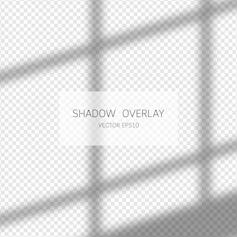 Shadow overlay effect. natural shadows from window isolated on transparent background. illustration.