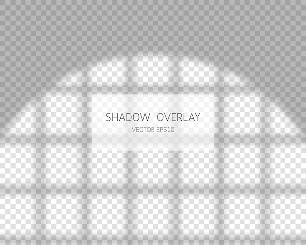 Shadow overlay effect natural shadows from window isolated on transparent background illustration