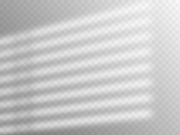 シャドウオーバーレイ効果。窓やルーバーからの柔らかな光と影。透明な影のオーバーレイ効果と室内の自然な稲妻のリアルなベクトルモックアップ。