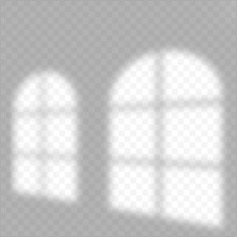 シャドウオーバーレイ効果。窓からの柔らかな光と影。透明な影のオーバーレイ効果と室内の自然な稲妻のリアルなベクトルモックアップ。