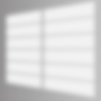 Shadow overlay effect. soft light and shadows from window and louvers. realistic vector mockup of transparent shadow overlay effect and natural lightning in room interior.
