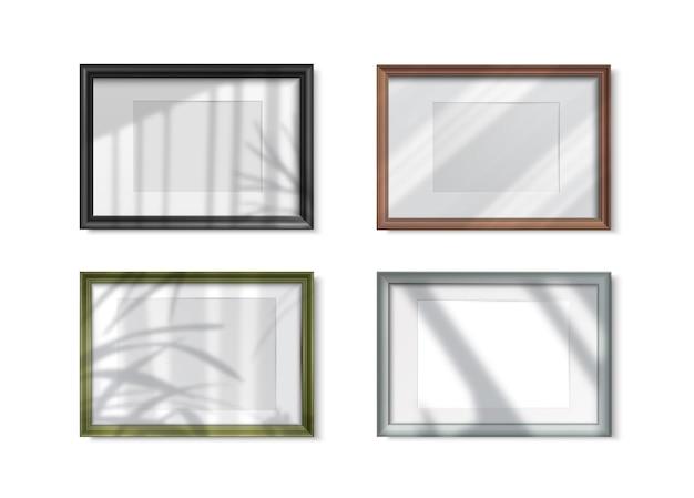 Эффекты наложения тени кадров реалистичный набор изолированных иллюстрация