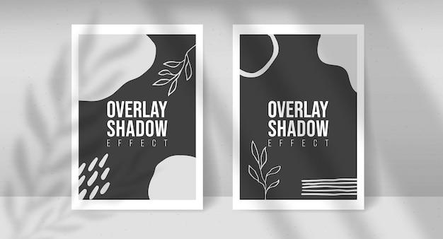 Тень наложения растений векторный макет двух листов бумаги а4. тени накладываются на световые эффекты листьев и окон. современный минималистский стиль. для презентации флаер, плакат, бланк, логотип, приглашение. редактируемый цвет