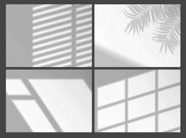 モックアッププレゼンテーションのシャドウオーバーレイ。自然な光の効果のための有機ヤシの木の影とジャロジーの影のウィンドウフレーム。窓の光と影の現実的な灰色の装飾的な背景