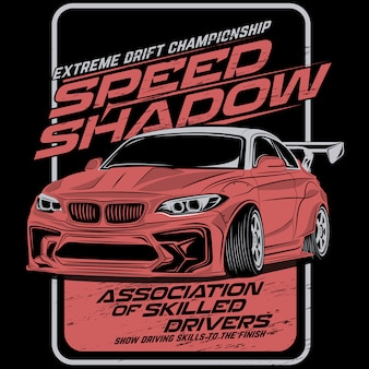 Shadow speed drift, vector car illustrations