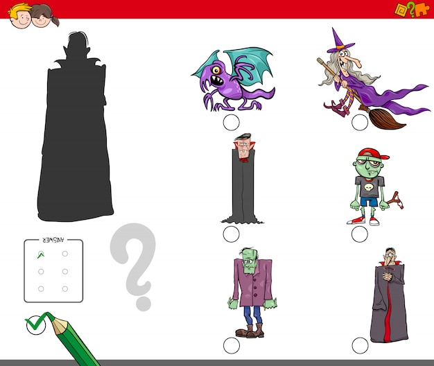 Shadows game with cartoon halloween characters