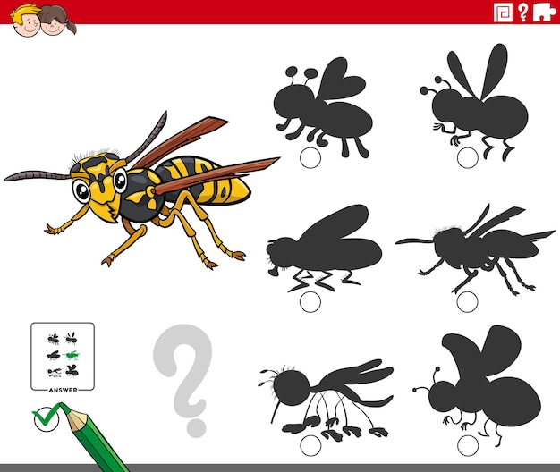 Shadows game with cartoon wasp insect character