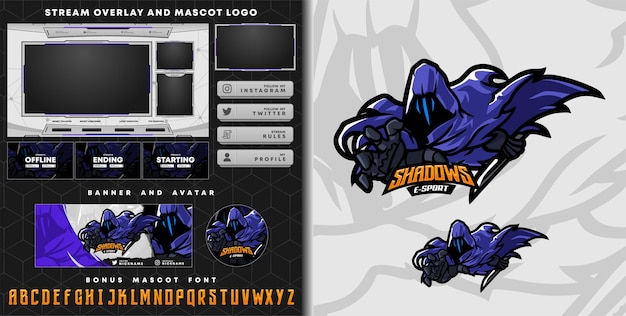 Shadows mascot logo and twitch overlay template