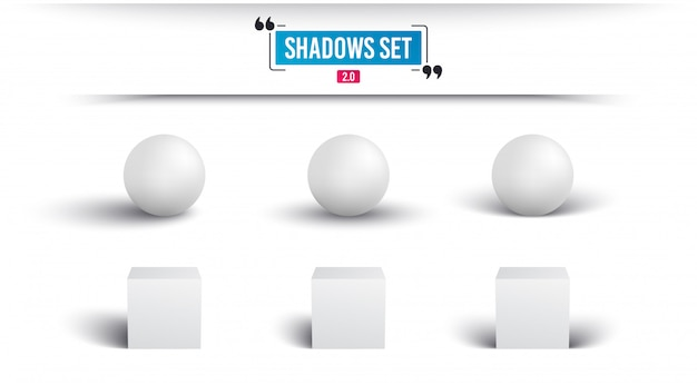 Shadows set. realistic sphere and cube with shadow.