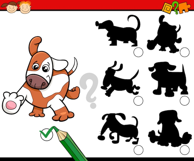 Shadows task cartoon with dogs