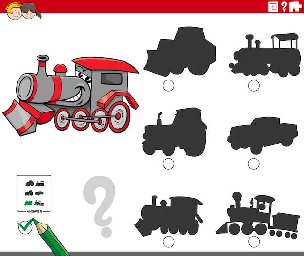 漫画の機関車のキャラクターと影のタスク
