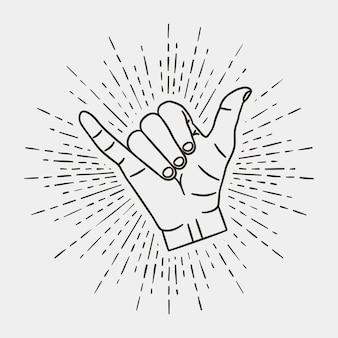 Шака - серфинг жест рукой с винтажными солнечными лучами. векторная иллюстрация.