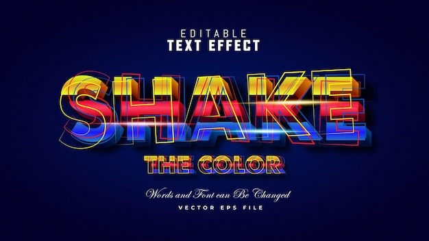Shake the color text effect