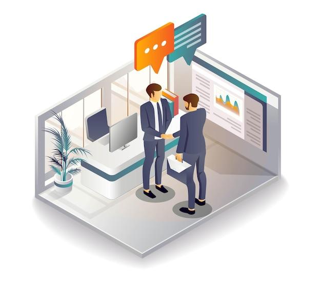 握手して協力し、投資ビジネスを展開する