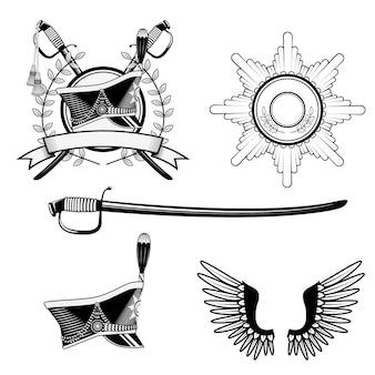 Shako hussar, badge, sword