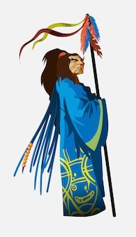 Персонаж-шаман в национальной синей одежде с длинным посохом. чукчи, индейцы. аутентичные ритуальные векторные иллюстрации. старый индейский вождь встает и смотрит вдаль. изолированный.