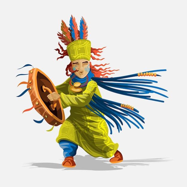 Шаманский персонаж в национальной одежде с бубном и амулетами танцует волшебный танец заклинателя и фокусника. чукчи, индейцы. аутентичные ритуальные иллюстрации.