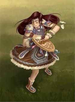Shaman girl dancing with tambourine. postcard illustration
