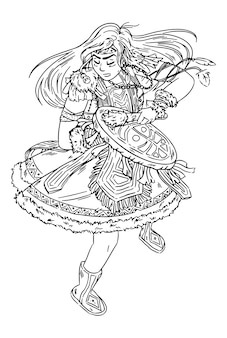 Shaman girl dancing with tambourine