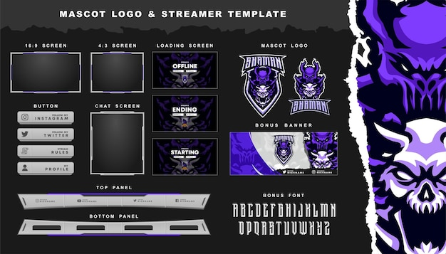 Shaman mascot logo and twitch overlay template