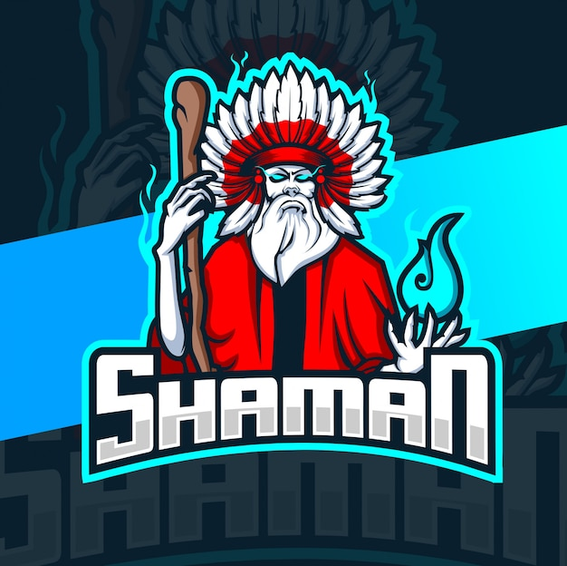 Shaman witch mascot esport logo