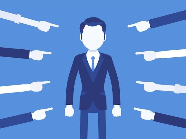 Позор тебе, виноватый. менеджер-мужчина испытывает болезненное чувство унижения или бедствия, глупое неправильное поведение, потеря уважения, бесчестие, указанное пальцами. векторная иллюстрация, безликие персонажи