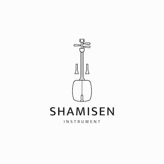 샤미센 일본 전통 악기 로고 아이콘 디자인 템플릿 평면 벡터