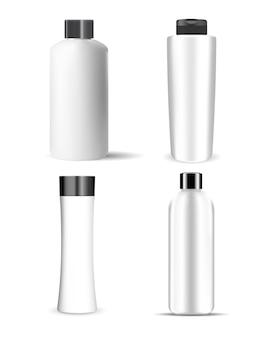샴푸 병. 화장품 패키지 모형은 비어 있습니다. 미용 화장품용 캡이 있는 흰색 키가 큰 용기, 3d 벡터 개체 컬렉션 디자인. 액상 크림, 젤용 플라스틱 용기