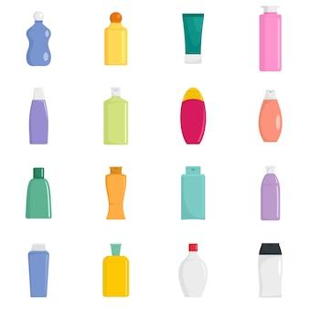 Shampoo bottle hair care icons set