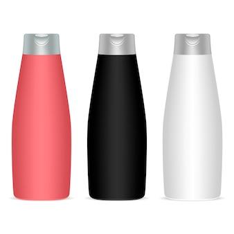 Shampoo bottle vector oval package. 3d mockup