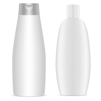 Shampoo bottle. white plastic cosmetic bottles blank,   template. body gel package collection. round packaging for bath product. milk or soap container, health and hygiene