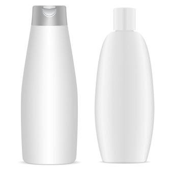 シャンプーボトル。白いプラスチック製化粧品ボトルブランク、テンプレート。ボディジェルパッケージコレクション。バス用品の丸型包装。ミルクまたは石鹸の容器、健康と衛生