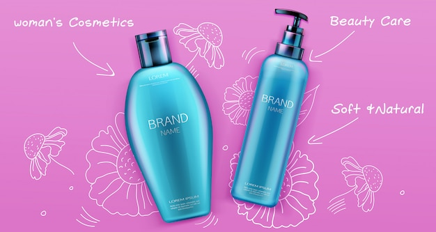 Shampoo and conditioner beauty cosmetics product for hair care on pink