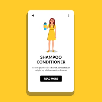 Shampoo conditioner bottle showing woman