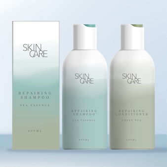 Shampoo & conditioner flip cap bottle with soft gradient abstract print. carton box for bottles.