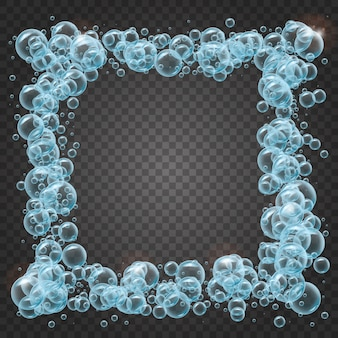Shampoo frame of realistic water bubbles
