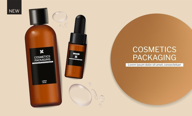 Shampoo and oil cosmetics packaging design vector realistic brand mock up banner water drops