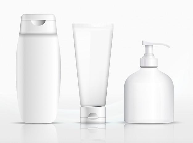 シャンプーの包装、クリームチューブ、石鹸のボトルのテンプレートデザイン。図。包装用シャンプー、石鹸ボトル、クリームチューブテンプレート