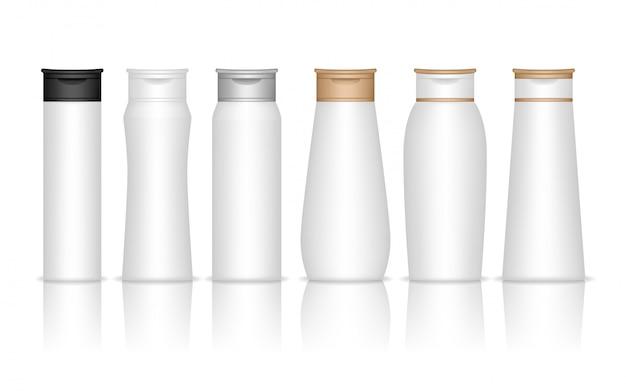 シャンプープラスチックボトルが分離されました。ジェル、ローション、クリーム、バスフォーム用の液体容器。美容製品パッケージ。