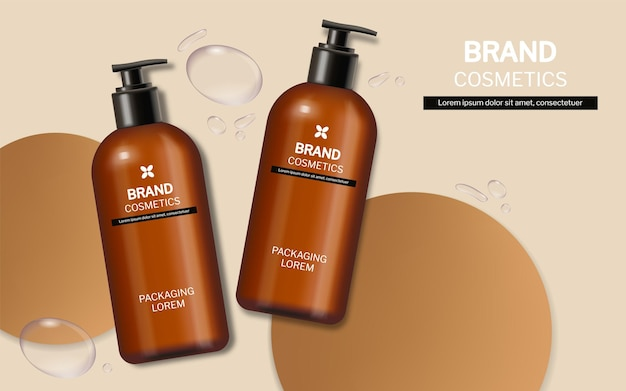 Shampoo and soap bottles vector realistic. product placement label designs
