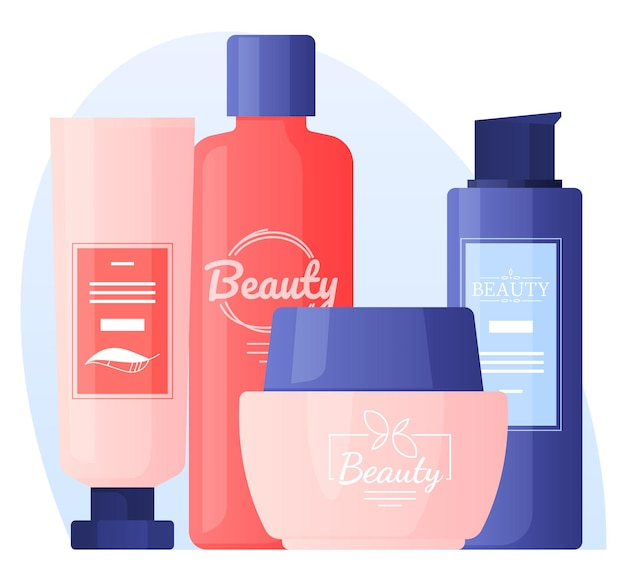 Shampoos, lotions, oils, creams, care. hair and face care.