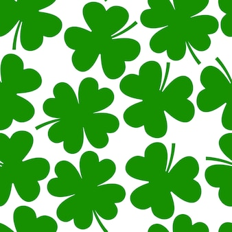 Shamrock, clover leaf vector cartoon seamless pattern.