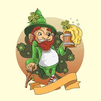 Shamrock clover mascot illustration saint patrick's day