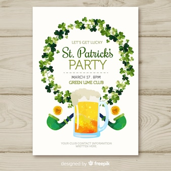 Shamrock wreath st patrick's party poster