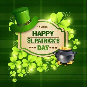 Shamrocks and cauldron saint patrick day background