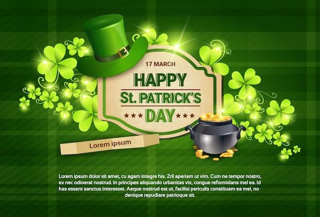 Shamrocks and cauldron saint patrick day banner template
