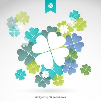 파란과 녹색 색조의 토끼풀 무료 벡터