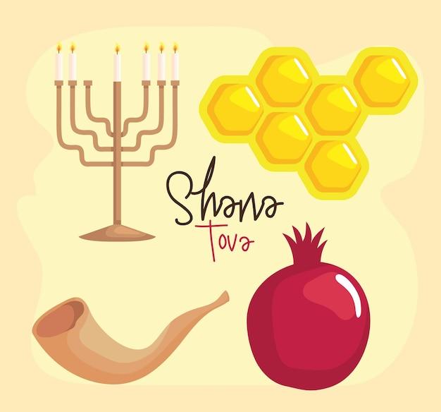 Shana tova celebration icons