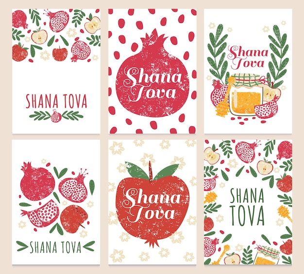 Shana tova. happy jewish new year, greeting cards with rosh hashanah holiday symbols. pomegranate, apple and honey vector set. celebrating cheerful event card collection with fruit and jar